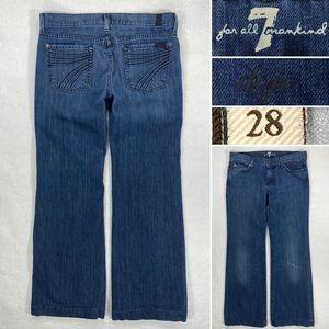 7 For All Mankind Dojo Flare Leg Womens 28 x 31 Medium Wash, Stretch Denim Jeans